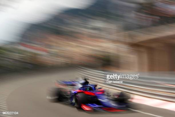Brendon Hartley of New Zealand driving the Scuderia Toro Rosso STR13 Honda on track during practice for the Monaco Formula One Grand Prix at Circuit...