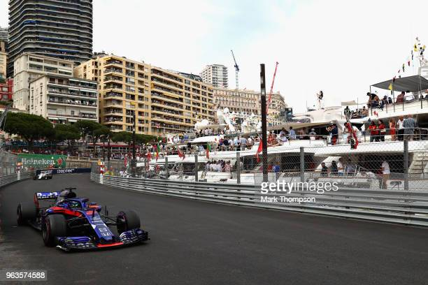 Brendon Hartley of New Zealand driving the Scuderia Toro Rosso STR13 Honda on track during the Monaco Formula One Grand Prix at Circuit de Monaco on...