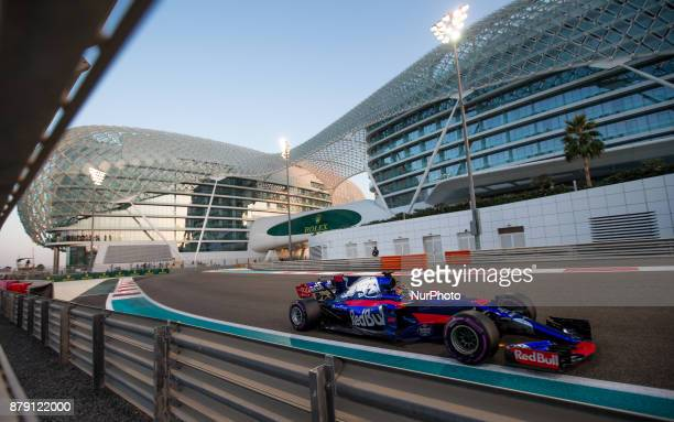 Brendon Hartley of New Zeland and Toro Rosso Team driver goes during the third practice at Formula One Etihad Airways Abu Dhabi Grand Prix on Nov 25...