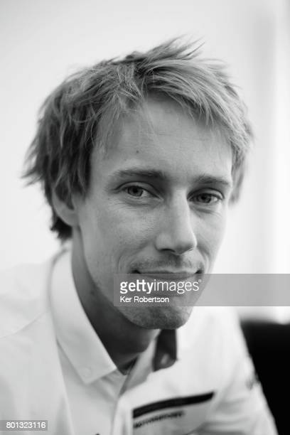 Brendon Hartley of Porsche LMP 919 team is interviewed before qualifying for the Le Mans 24 Hours race at the Circuit de la Sarthe on June 15 2017 in...