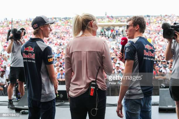 Brendon Hartley of Scuderia Toro Rosso and New Zealand and Daniil Kvyat of Scuderia Toro Rosso and Russia during qualifying for the United States...