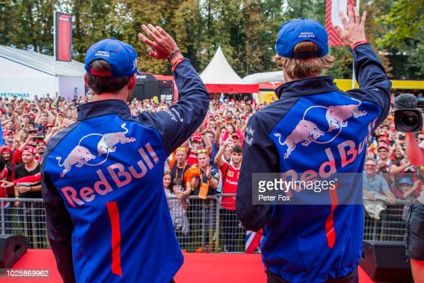 Brendon Hartley of Scuderia Toro Rosso and New Zealand and Pierre Gasly of Scuderia Toro Rosso and France during qualifying for the Formula One Grand...