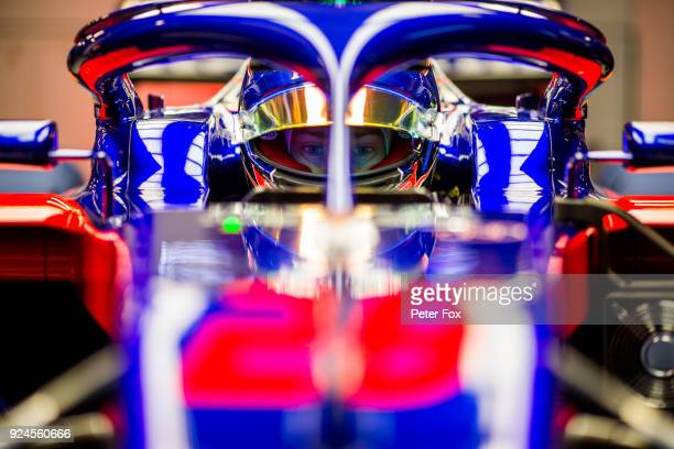 Brendon Hartley of Scuderia Toro Rosso and New Zealand during day one of F1 Winter Testing at Circuit de Catalunya on February 26, 2018 in Montmelo,...