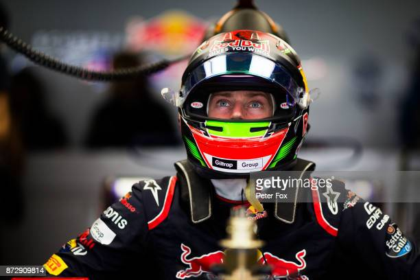 Brendon Hartley of Scuderia Toro Rosso and New Zealand during qualifying for the Formula One Grand Prix of Brazil at Autodromo Jose Carlos Pace on...