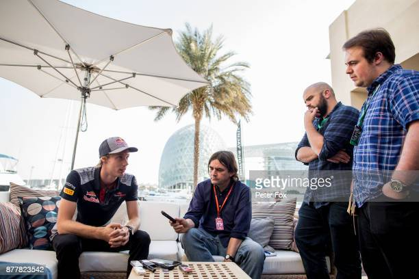 Brendon Hartley of Scuderia Toro Rosso and New Zealand during previews for the Abu Dhabi Formula One Grand Prix at Yas Marina Circuit on November 23...