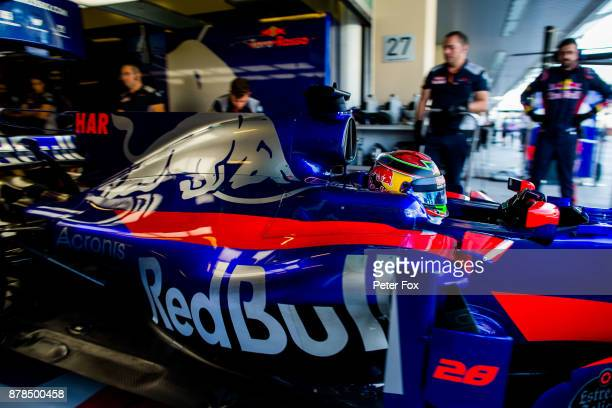 Brendon Hartley of Scuderia Toro Rosso and New Zealand during practice for the Abu Dhabi Formula One Grand Prix at Yas Marina Circuit on November 24...