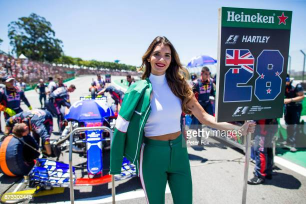 Brendon Hartley of Scuderia Toro Rosso and New Zealand grid girl during the Formula One Grand Prix of Brazil at Autodromo Jose Carlos Pace on...