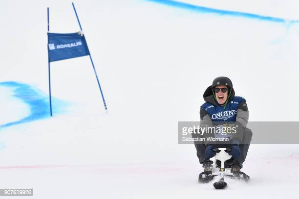 Brendon Hartley rides a sled during the KitzCharityTrophy on January 20, 2018 in Kitzbuehel, Austria.