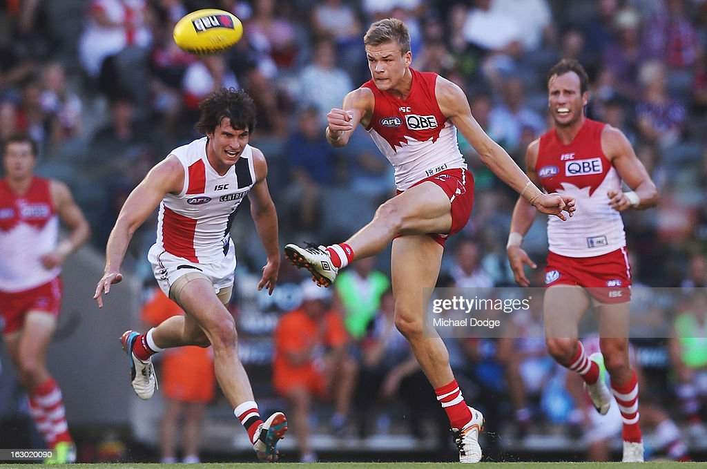 Brendon Jack of the Sydney Swans kicks the ball during the round two AFL NAB Cup match between the St Kilda Saints and the Sydney Swans at Etihad Stadium on March 3, 2013 in Melbourne, Australia.