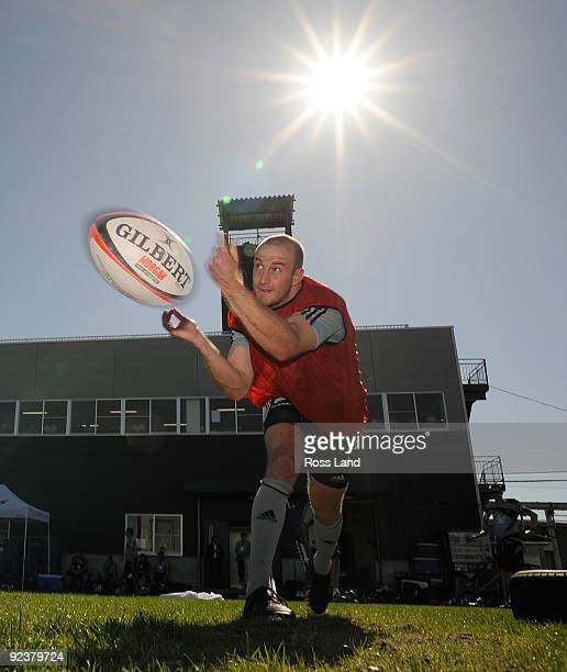 Brendon Leonard of the All Blacks passes the ball during a training session at the Kubota Funubashi Rugby Field on October 27 2009 in Funabashi Chiba...