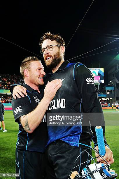 Brendon McCullum and Daniel Vettori of New Zealand celebrate after winning the 2015 Cricket World Cup Semi Final match between New Zealand and South...