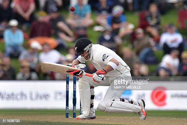 Brendon McCullum captain of New Zealand ducks a bouncer during day three of the second cricket Test match between New Zealand and Australia at the...