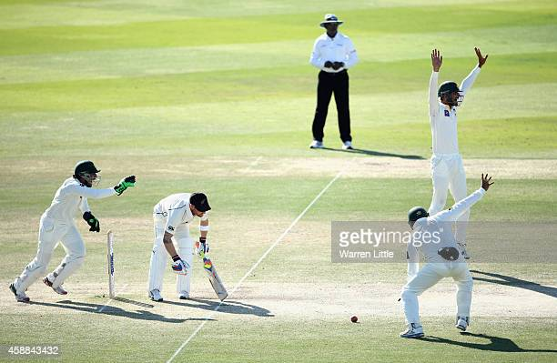 Brendon McCullum New Zealand Captain is bowled lbw by Yasir Shah of Pakistan during day four of the first test between Pakistan and New Zealand at...