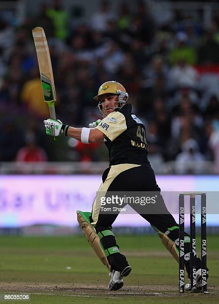 Brendon McCullum of Kolkata hits out during the IPL T20 match between Deccan Chargers and Kolkata Knight Riders on April 19 2009 in Cape Town South...