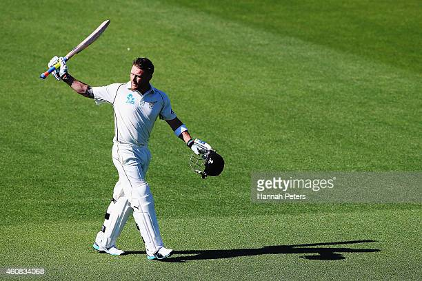Brendon McCullum of New Zealand acknowledges the crowd after being dismissed for 195 runs during the test match between New Zealand and Sri Lanka at...