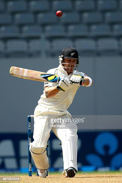 Brendon McCullum of New Zealand bats during day one of the First Test match between New Zealand and India at Eden Park on February 6 2014 in Auckland...