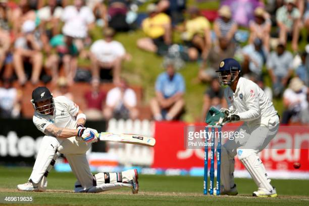 Brendon McCullum of New Zealand bats during day three of the 2nd Test match between New Zealand and India at the Basin Reserve on February 16, 2014...