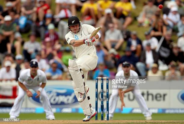 Brendon McCullum of New Zealand bats during day three of the second Test match between New Zealand and England at Basin Reserve on March 16 2013 in...