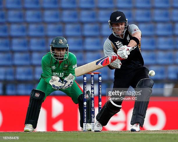 Brendon McCullum of New Zealand bats during the ICC World T20 Group D match between New Zealand and Bangladesh at Pallekele Cricket Stadium on...
