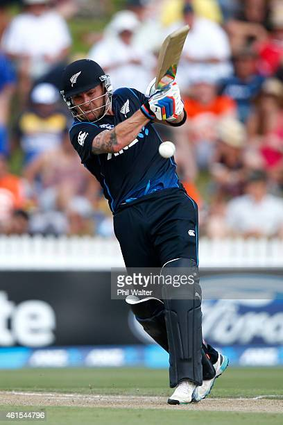 Brendon McCullum of New Zealand bats during the One Day International match between New Zealand and Sri Lanka at Seddon Park on January 15 2015 in...