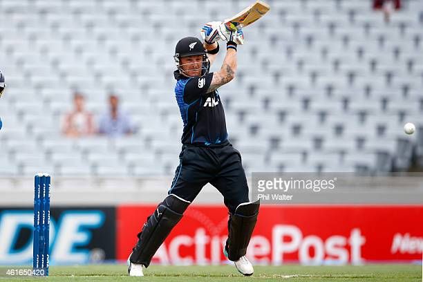 Brendon McCullum of New Zealand bats during the One Day International match between New Zealand and Sri Lanka at Eden Park on January 17 2015 in...