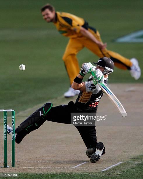 Brendon McCullum of New Zealand bats during the Twenty20 International match between the New Zealand Black Caps and Australia at AMI Stadium on...
