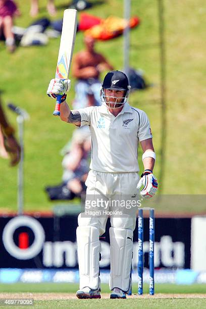 Brendon McCullum of New Zealand celebrates after reaching 150 runs during day four of the 2nd Test match between New Zealand and India on February 17...