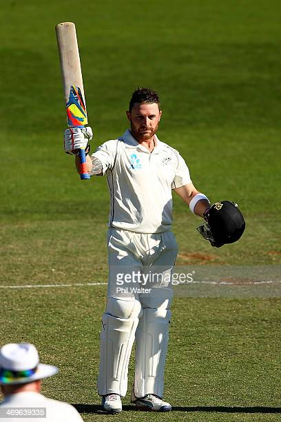 Brendon McCullum of New Zealand celebrates his century during day three of the 2nd Test match between New Zealand and India at the Basin Reserve on...