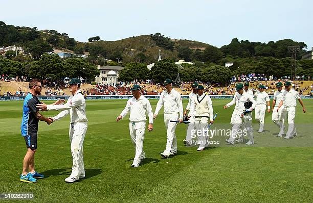 Brendon McCullum of New Zealand congratulated Steve Smith of Australia during day four of the Test match between New Zealand and Australia at Basin...