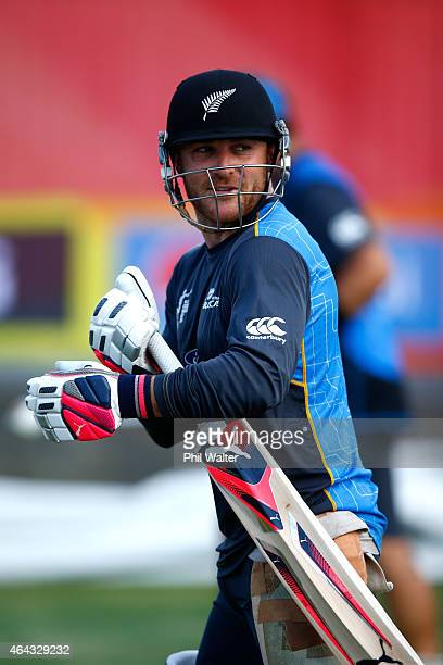 Brendon McCullum of New Zealand during a New Zealand Black Caps training session at Eden Park on February 25 2015 in Auckland New Zealand