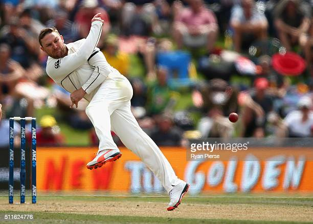 Brendon McCullum of New Zealand fields off his own bowling during day three of the Test match between New Zealand and Australia at Hagley Oval on...