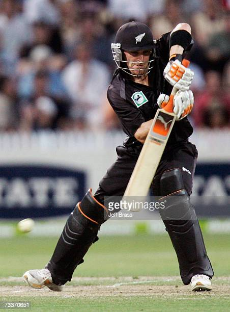 Brendon McCullum of New Zealand hits out during the third oneday international match of the ChappellHadlee Trophy series between New Zealand and...