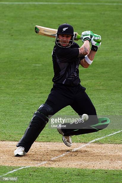 Brendon McCullum of New Zealand in action during the first National Bank series One Day International match between New Zealand and England at the...