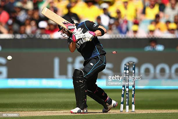 Brendon McCullum of New Zealand is bowled out by Mitchell Starc of Australia during the 2015 ICC Cricket World Cup final match between Australia and...