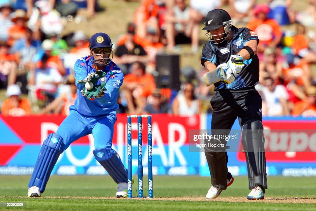 Brendon McCullum of New Zealand is caught behind by MS Dhoni of India during the first One Day International match between New Zealand and India at McLean Park on January 19, 2014 in Napier, New Zealand.