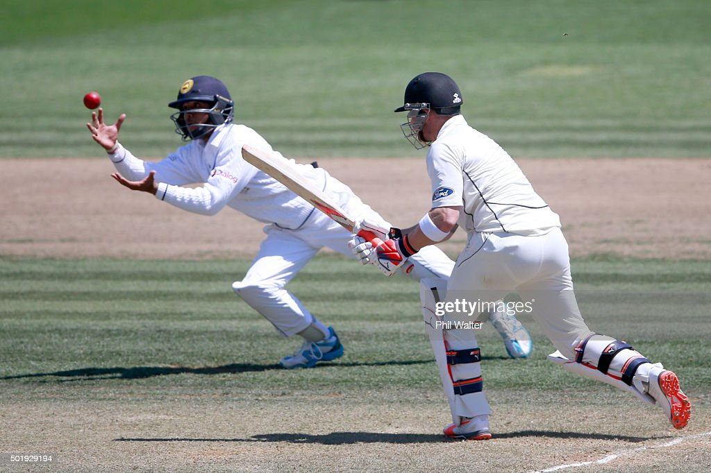 Brendon McCullum of New Zealand is caught out by Kusal Mendis of Sri Lanka during day two of the Second Test match between New Zealand and Sri Lanka at Seddon Park on December 19, 2015 in Hamilton, New Zealand.