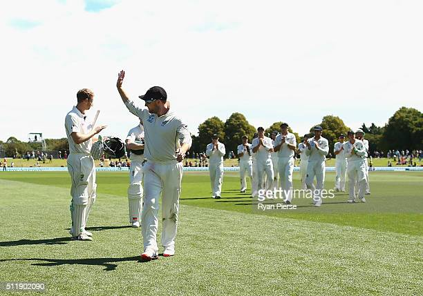 Brendon McCullum of New Zealand is congratuated as he leaves the ground after his final test match during day five of the Test match between New...