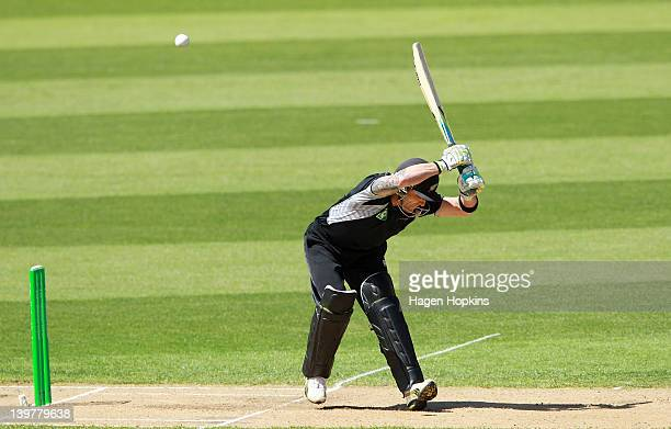 Brendon McCullum of New Zealand is hit on the pads while batting during the One Day International match between New Zealand and South Africa at...