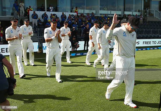 Brendon McCullum of New Zealand leads his team out during his final day of test cricket during day five of the Test match between New Zealand and...