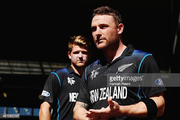 Brendon McCullum of New Zealand leads his team out during the 2015 ICC Cricket World Cup match between New Zealand and the West Indies at Wellington...