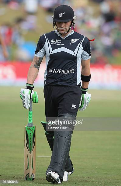 Brendon McCullum of New Zealand leaves the field after being dismissed during the ICC Champions Trophy Final between Australia and New Zealand played...