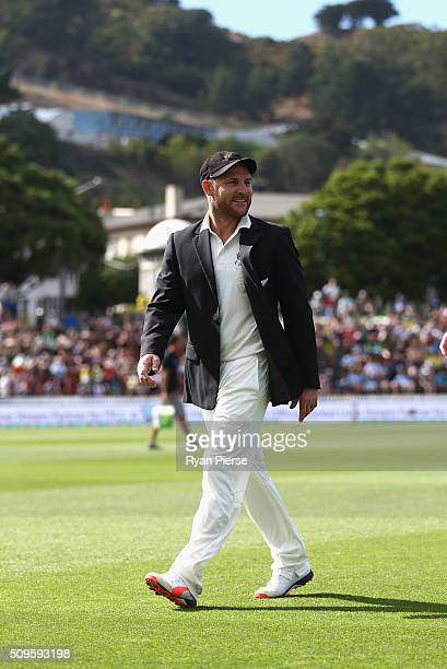 Brendon McCullum of New Zealand looks on before his 100th Test during day one of the Test match between New Zealand and Australia at Basin Reserve on...