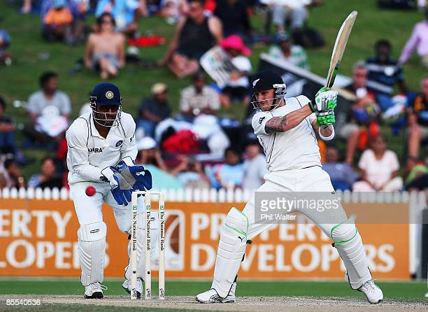 Brendon McCullum of New Zealand plays a shot during day four of the First Test match between New Zealand and India at Seddon Park on March 21 2009 in...