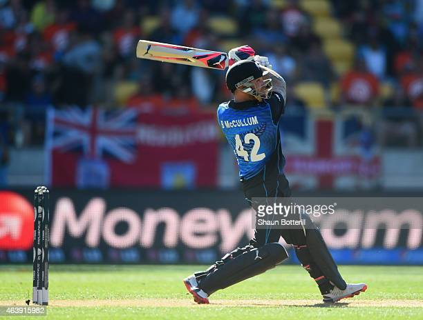 Brendon McCullum of New Zealand plays a shot during the 2015 ICC Cricket World Cup match between England and New Zealand at Wellington Regional...