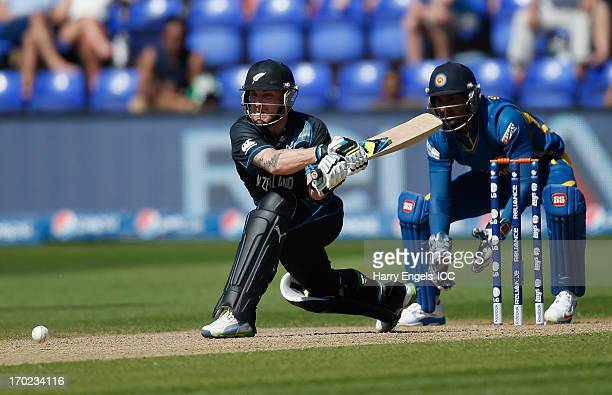 Brendon McCullum of New Zealand prepares to hit a reverse sweep during the ICC Champions Trophy group A match between Sri Lanka and New Zealand at...