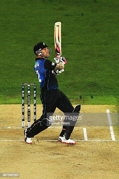 Brendon McCullum of New Zealand pulls the ball away for six runs during the 2015 Cricket World Cup Semi Final match between New Zealand and South...