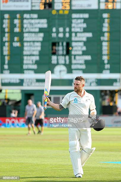 Brendon McCullum of New Zealand salutes the crowd after finishing the day on 281 runs during day four of the 2nd Test match between New Zealand and...