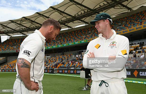 Brendon McCullum of New Zealand speaks with Steve Smith of Australia after day five of the First Test match between Australia and New Zealand at The...