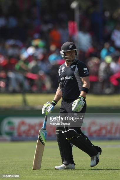 Brendon McCullum of New Zealand walks off dejectedly after being bowled by Shoaib Akhtar during the New Zealand v Pakistan 2011 ICC World Cup Group A...