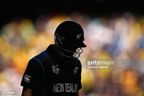 Brendon McCullum of New Zealand walks off the field after being bowled out by Mitchell Starc of Australia during the 2015 ICC Cricket World Cup final...